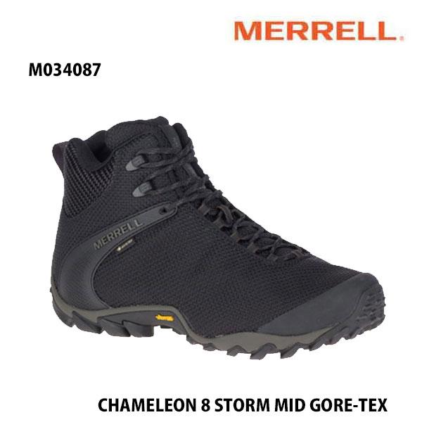Merrell M034087 CHAMELEON 8 STORM MID GORE-TEX BLACK  メレル カメレオン 8 ストーム ミッド ゴアテックス メンズ アウトドア ゴアテックス スニーカー 幅2E相当