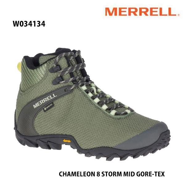 Merrell W034134 CHAMELEON 8 STORM MID GORE-TEX LICHEN メレル ウィメンズ カメレオン 8 ストーム ミッド ゴアテックス レディース アウトドア ゴアテックス スニーカー 幅2E相当