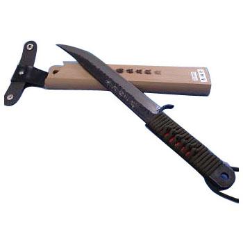 池内刃物 昭三作 剣ナタ 青鋼 黒打仕上 諸刃 165mm 狩猟用 木鞘付 受注生産品 arde0204613