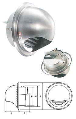 UK ステン丸型フード付ガラリ(防火ダンパー付) 150mm 12個価格 UK-GN150SHD-HL