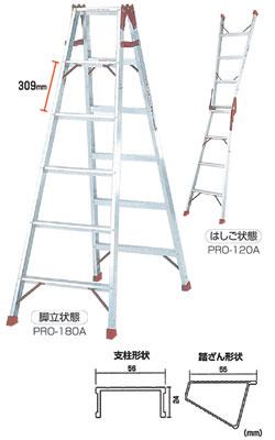 PICA はしご兼用脚立 プロ メーカー直送代引不可 PRO-60B