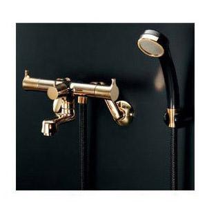 カクダイ 2ハンドルシャワ混合栓(一時止水・ゴールド) 1個価格 139-021K 139-021K