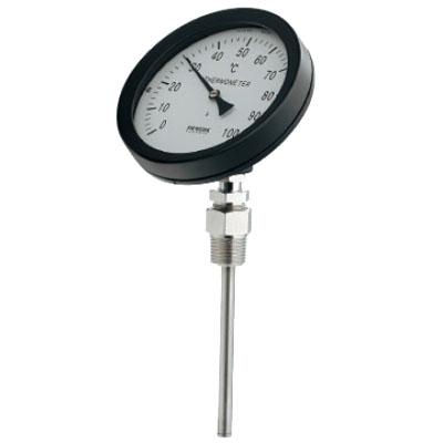 バイメタル製温度計(45度傾斜型)対応温度50×窓枠径100mm カクダイ 649-910-50B