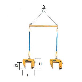 SUPER TOOL 2×4パネル吊 天秤セット 0.40トン (クランプ範囲:35~135mm) PTC-200S