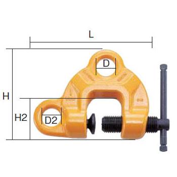 SUPER TOOL スクリューカムクランプ(ダブル・アイ型)0.5トン (クランプ範囲:1~25mm) SDC0.5N