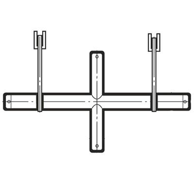 ロイヤル ブラケットクロスバーシングル25径(オーバーハングタイプ)自動ロック式抜け止め付き)895mm Aニッケルサテン XOS-25S-2515