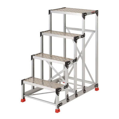トラスコ アルミ合金製作業台4段 縞鋼板 600mm×400mm×1200mm(1台価格) TSFC-4612