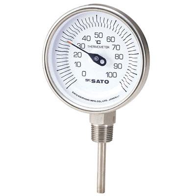 佐藤計量器 バイメタル温度計 BM-S-90S 0~100℃ 200L ※取寄品 2030-46