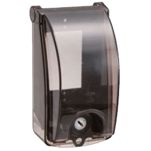 プロテクトカバー(器具用保護カバー)鍵付 黒 透明蓋(10個価格) 未来工業 CWBK-1KK