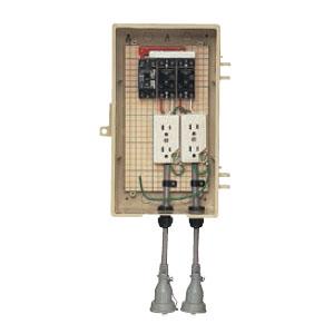 屋外電力用仮設ボックス(漏電しゃ断器・分岐ブレーカ・コンセント内蔵)15mA(1個価格) 未来工業 3A-22CBT