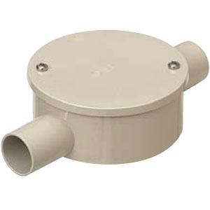 露出用丸形ボックス(カブセ蓋)防水タイプ 2方出(S)ベージュ 適合管VE22(20個価格) 未来工業 PVM22-2SKPJ