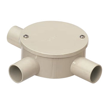 露出用丸形ボックス(カブセ蓋)防水タイプ 3方出 ベージュ 適合管VE22(20個価格) 未来工業 PVM22-3KPJ
