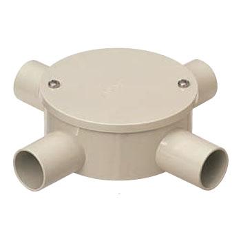 露出用丸形ボックス(カブセ蓋)防水タイプ 4方出 ベージュ 適合管VE22(20個価格) 未来工業 PVM22-4KPJ