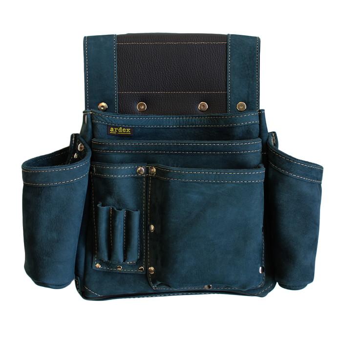 【送料無料】ヌバック釘袋 Wポケット(W墨壷ホルダー仕様) 4型 藍色 アルデ ARDEX-014W-N ( 腰袋 大工 釘袋 収納 DIY 日曜大工 革 皮 小物入れ 藍 ネイビー )