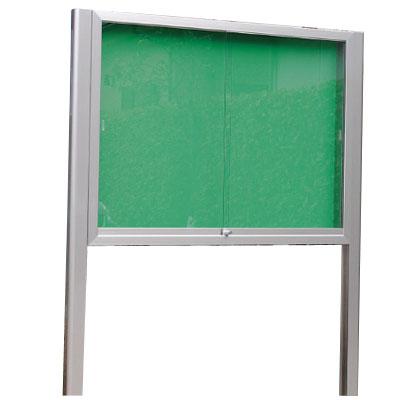 神栄ホームクリエイト アルミ屋外掲示板(シルバー)950×1250×100 LED付 レザーグリーン 受注生産品 メーカー直送品 代引不可 SK-2071-1-SLC