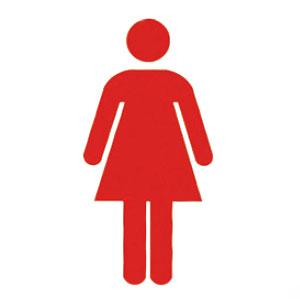 神栄ホームクリエイト サイン(R付・平付型)女マーク 赤 150×150×21 ※メーカー直送品 SK-WSR-1F-S-2
