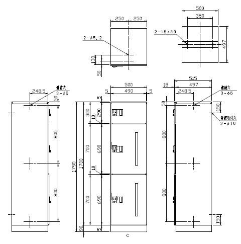 デリバリーボックス(メカ式)宅配W500 ステンレス扉Cユニット ※受注生産品※メーカー直送品 ナスタ TLK500-SC