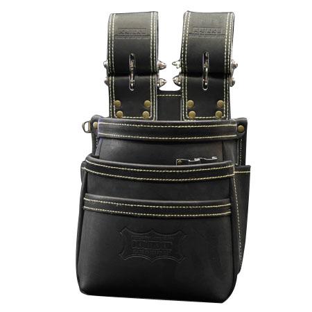 KNICKS(ニックス) 最高級硬式グローブ革チェーンタイプ3段腰袋 ブラック ※取寄品 KGB-301DDX