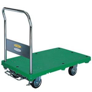 シシク フットストッパー付運搬台車 (プラスチック製、ハンドル固定) MB-SMG-FS