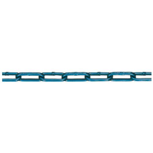透明チューブ アルミチェーン 線径6×内長27.5×内巾6mm ブルー 30m価格 ※取寄品 水本機械 6HALC-B