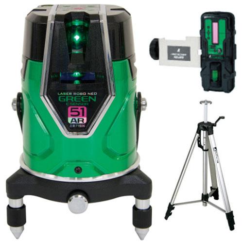 シンワ レーザーロボ グリーン Neo E Sensor 51AR 受光器 三脚セット ※取寄品 71616