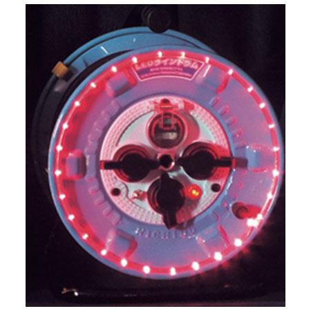 日動 防雨型LEDラインドラム 赤 過負荷漏電保護兼用 NPWL-EK33-R