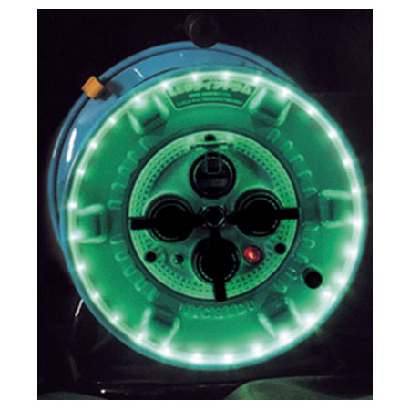 日動 防雨型LEDラインドラム 緑 過負荷漏電保護兼用 NPWL-EK33-G