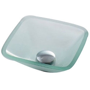 カクダイ ガラス角型手洗器(クリア) ※メーカー直送品 493-029-C