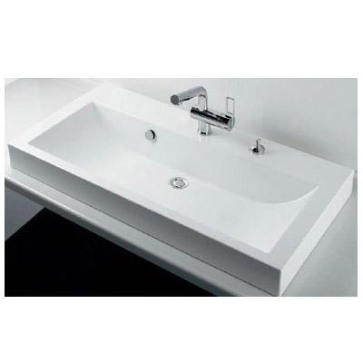 カクダイ 角型洗面器(1ホール・ポップアップ穴付き) 15L ※メーカー直送品 493-070-1000H
