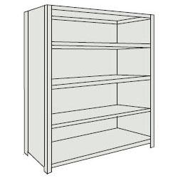トラスコ 軽量棚(背板・側板付・5段)1815×615×1504mm ネオグレー 56W-25-NG