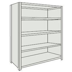 トラスコ 軽量棚(背板・側板付・5段)1515×615×1504mm ネオグレー 55W-25-NG