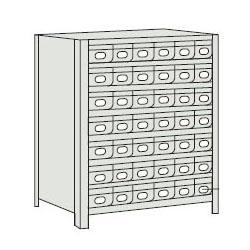 トラスコ 軽量ボルト式棚スチール引出(小)42 890×315×1204mm ネオグレー 43V-808A7-NG