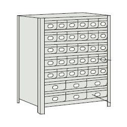 トラスコ 軽量ボルト式棚スチール引出(小)30・(大)6 890×315×1204mm ネオグレー 43V-808A5B2-NG