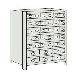 トラスコ 軽量ボルト式棚スチール引出(小)30・(大)6 890×465×1204mm ネオグレー 43X-808A5B2-NG