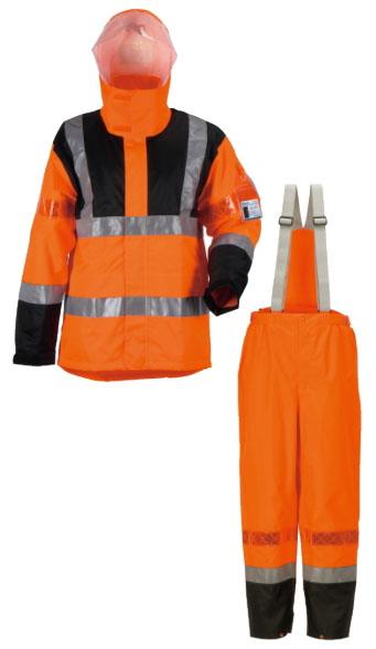 カジメイク 高視認性レインスーツ オレンジ 5Lサイズ ※取寄品 3850-25-5L