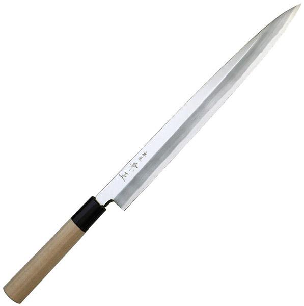 関兼常 本匠 兼正 Gシリーズ 霞研 水牛口付 朴柄 和包丁 柳刃 全長285×刃渡150mm G-05