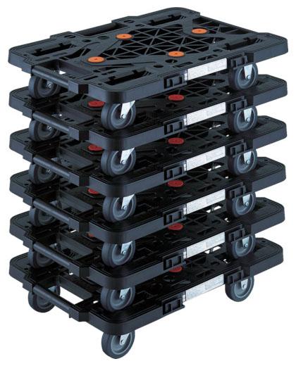 トラスコ 連結型樹脂製平台車ルートバン メッシュタイプ 黒 515mm 6台セット メーカー直送 MPK-500-BK-M6