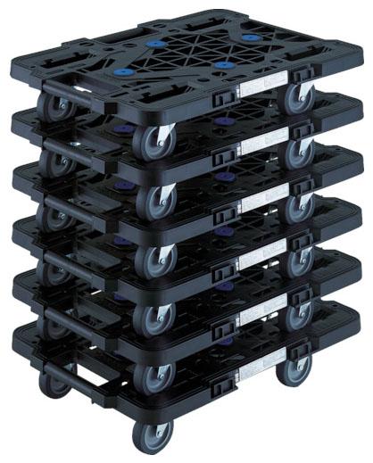 トラスコ 連結型樹脂製平台車ルートバン メッシュタイプ 黒 515mm 6台セット メーカー直送 MPK-500J-BK-M6