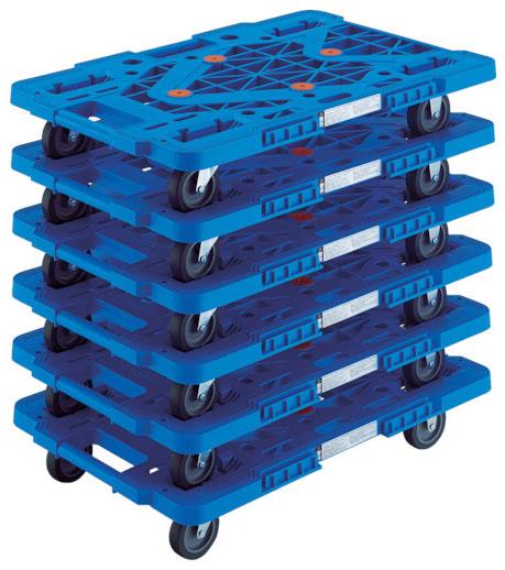 トラスコ 連結型樹脂製平台車ルートバン メッシュタイプ 青 615mm 6台セット メーカー直送 MPK-600-B-M6