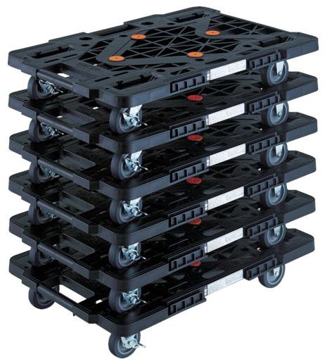 トラスコ 連結型樹脂製平台車ルートバン メッシュタイプ 黒 615mm 6台セット メーカー直送 MPK-600S-BK-M6