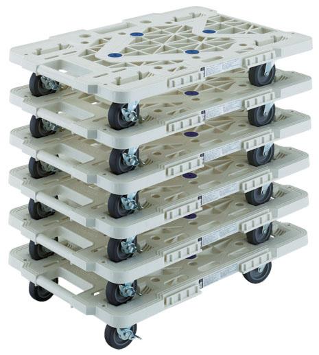 トラスコ 連結型樹脂製平台車ルートバン メッシュタイプ 白 615mm 6台セット メーカー直送 MPK-600JS-W-M6