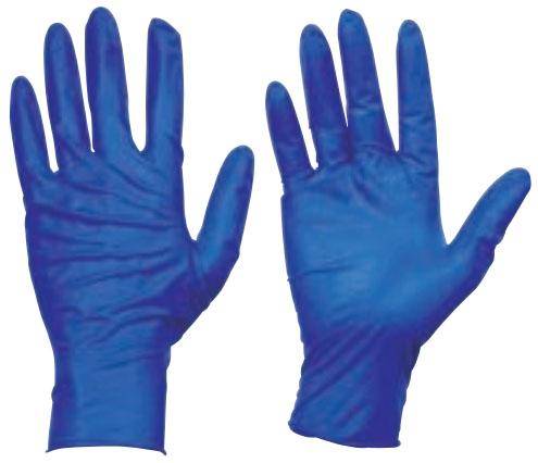 トラスコ 使い捨て天然ゴム手袋 TGセーフ 厚0.12mm 粉無 青 L 10箱入 ※取寄品 TGNL12BL-10C