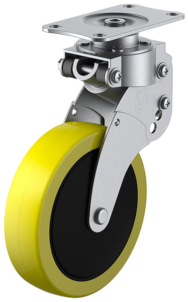 SKY-S型 緩衝器付・自在車 100mm 帯電防止ウレタン ※受注生産品 ユーエイキャスター SKY-S100SUE-1