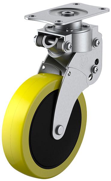 SKY-S型 緩衝器付・自在車 100mm 帯電防止ウレタン ※受注生産品 ユーエイキャスター SKY-S100SUE-2