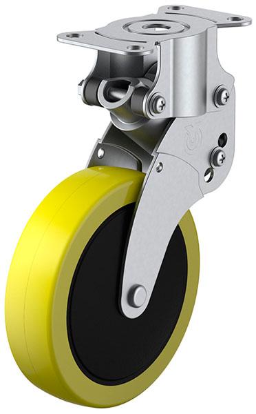 ユーエイキャスター SKY-R型 緩衝器付・固定車 100mm 帯電防止ウレタン ※受注生産品 SKY-R100SUE-2