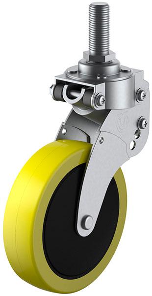 SKY-T型 緩衝器付・自在車 M12×35 100mm ※受注生産品 ユーエイキャスター SKY-T100SUE-1M12x35