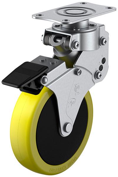 SKY-S-S型 緩衝器付・自在車・ストッパー付 100mm ※受注生産品 ユーエイキャスター SKY-S100SUES-3