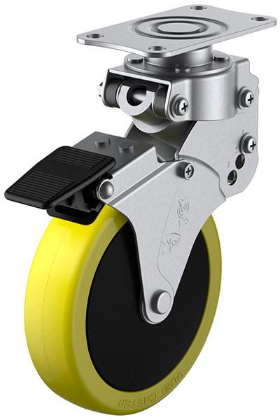 SKY-S-S型 緩衝器付・自在車・ストッパー付 125mm ※受注生産品 ユーエイキャスター SKY-S125SUES-1