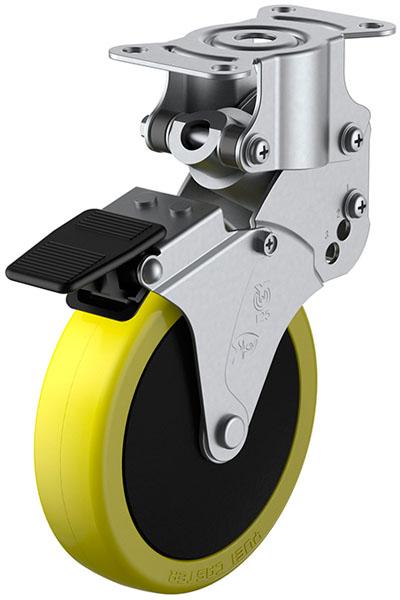 SKY-R-S型 緩衝器付・固定車 ストッパー付 125mm ※受注生産品 ユーエイキャスター SKY-R125SUES-1