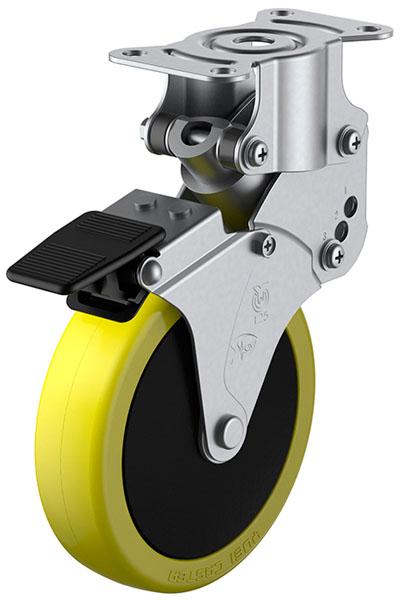 SKY-R-S型 緩衝器付・固定車 ストッパー付 125mm ※受注生産品 ユーエイキャスター SKY-R125SUES-3